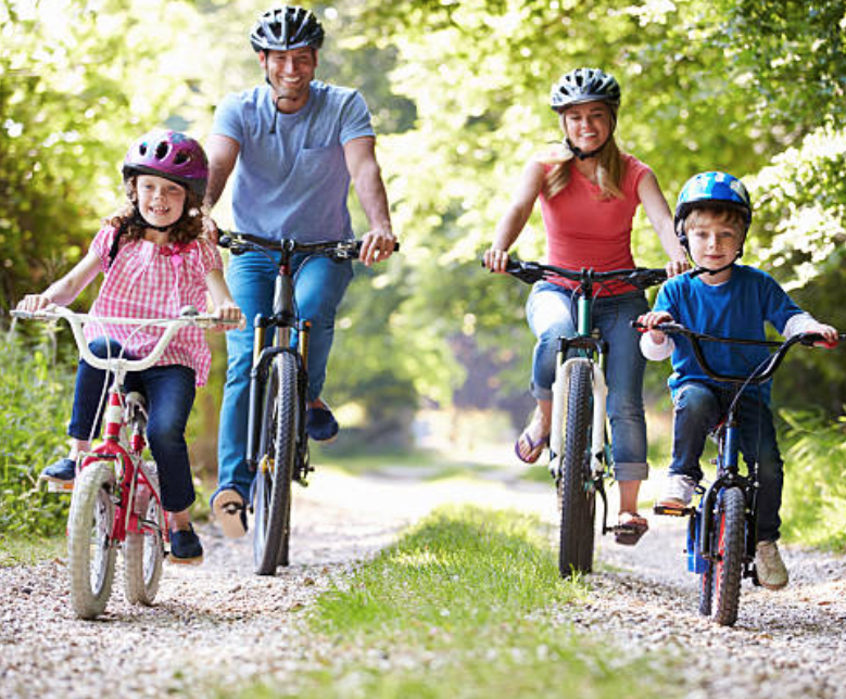 picture of a family riding bicycles